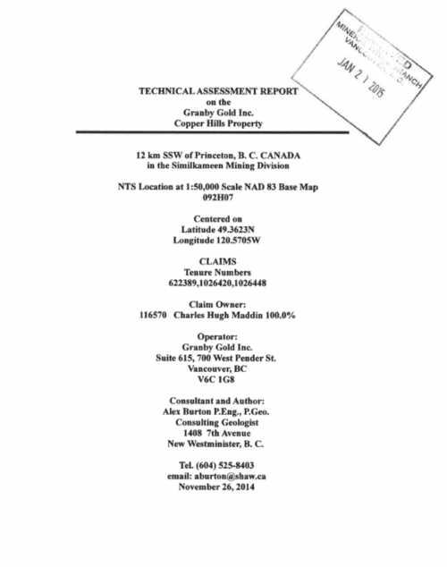Granby Gold Inc  | Copper Hill Claims, Princeton Area